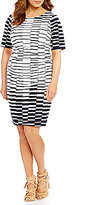 Vince Camuto Plus Printed Knit Side Ruched Dress