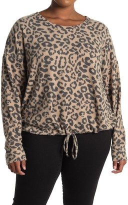 Socialite Long Sleeve Leopard Print Cozy Pullover Sweater