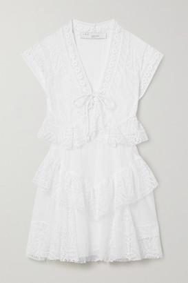 IRO Fairy Lace-up Tiered Crocheted Cotton Mini Dress - White