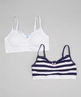 Laura Ashley True Navy Stripe & White Seamless Bra Set - Girls