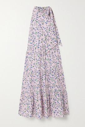 SEREN Toni Tie-neck Floral-print Organic Cotton-poplin Midi Dress - Baby pink