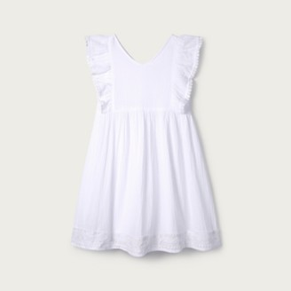 The White Company Textured Cotton Lace-Trim Dress (1-6yrs), White, 2-3yrs