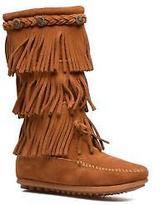 Minnetonka Kids's 3-Layer Zip-up Boots in Brown