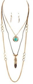 Overstock Feather Motif Turquoise Goldtone Layered Necklace Set