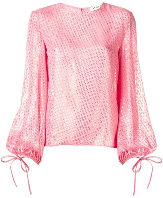 ATTICO Metallic Balloon Sleeve Blouse