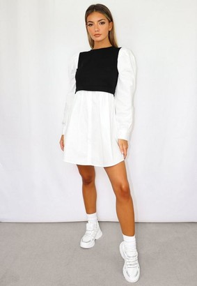 Missguided Black Sweater Insert Puff Sleeve Shirt Dress
