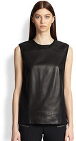 Helmut Lang Ink Wool-Back Leather Top