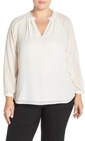 NYDJ Plus Size Women's Dobby Dot Split Neck Blouse