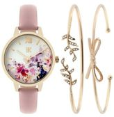 INC International Concepts Women's Leather Strap Watch & Bracelet Set 34mm, Only at Macy's
