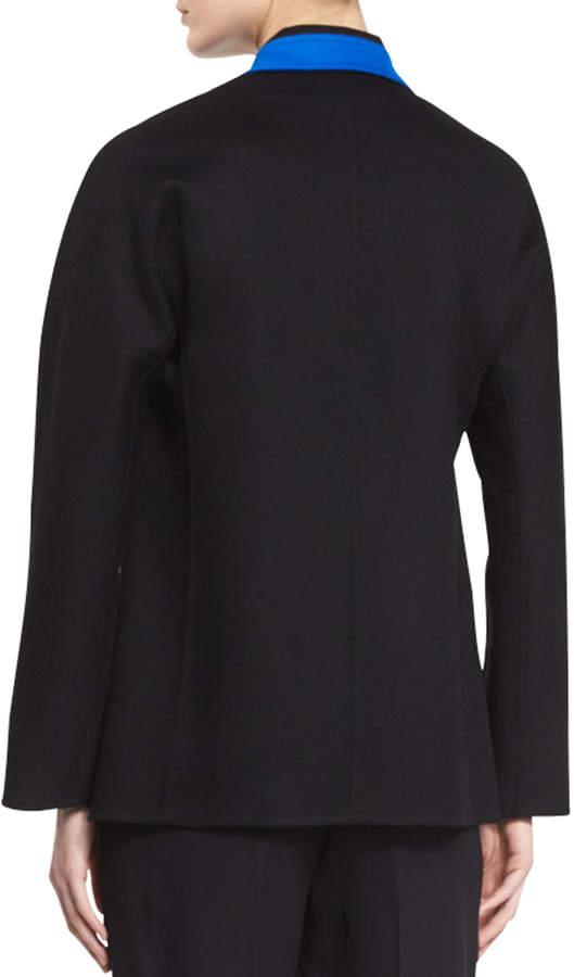 Shamask Contrast-Trim Long-Sleeve Jacket, Black/Blue