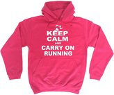 123t Slogans 123t Keep Calm And Carry On Running Jogging Hoody Jog Run Fitness Workout Top Gym Weight Loss Dieting Diet Funny Birthday Gift Christmas Present HOODIE