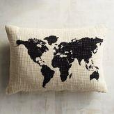 Pier 1 Imports Flocked World Map Lumbar Pillow