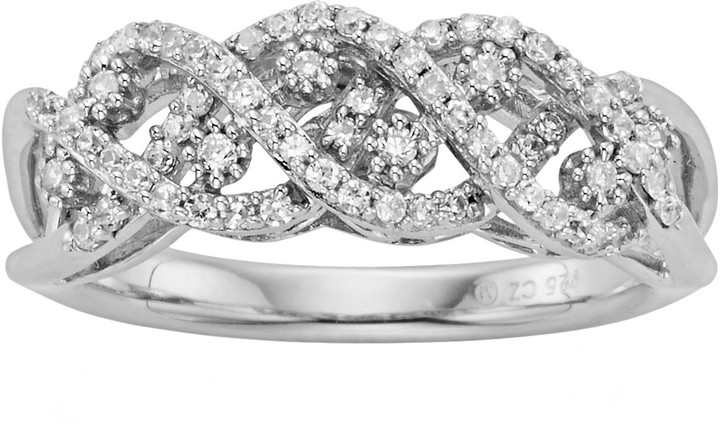 Vera Wang Simply Vera Sterling Silver 3/8-ct. T.W. Diamond Crisscross Wedding Ring