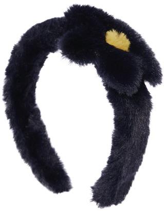 Il Gufo Faux Fur Flower-Applique Headband