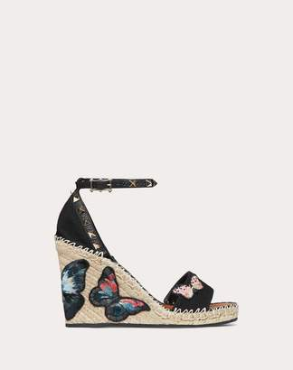 Valentino Garavani Embroidered Butterfly Canvas Wedge Sandal 105 Mm Women Black 100% Cotone 41