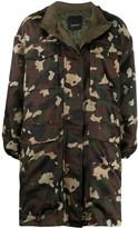 Pinko army print hooded coat