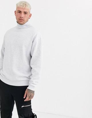 Asos DESIGN oversized funnel neck sweatshirt in white marl