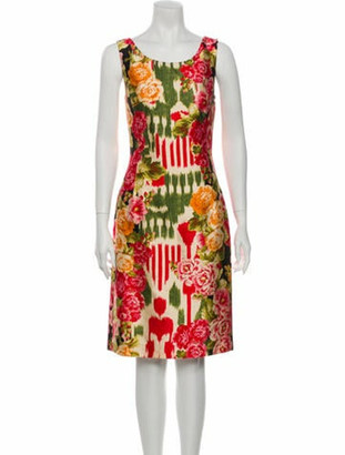 Oscar de la Renta Printed Knee-Length Dress Red