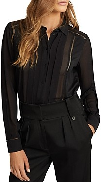 Reiss Arin Pleated Semi Sheer Blouse