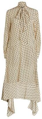 Rokh Printed Necktie Midi Dress