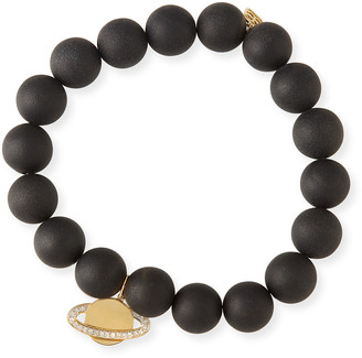 Sydney Evan 10mm Matte Black Onyx Beaded Bracelet with Diamond Saturn Charm