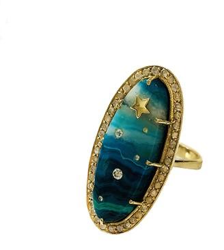 Andrea Fohrman Chrysocolla Celestial Yellow Gold Ring
