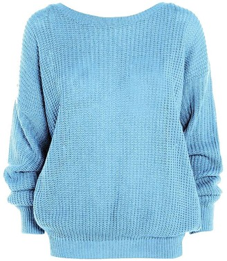 H.A.A.S Womens Knitted Plain Chunky Baggy Jumper Ladies Oversized Fisherman Sweater Top (S/M (UK 8-10)