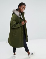 Asos Satin A-Line Parka With Faux Fur Lined Hood