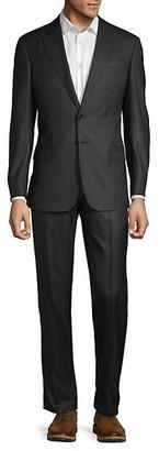 Armani Collezioni 2-Piece Classic Fit Striped Virgin Wool Blend Suit