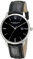 Stuhrling Original Ascot Men's Quartz Watch with Black Dial Analogue Display and Black Leather Strap 997L.02