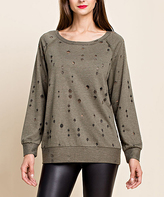 Blu Heaven Olive Distressed Scoop Neck Sweater