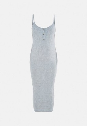 Missguided Gray Rib Button Front Maternity Midi Dress