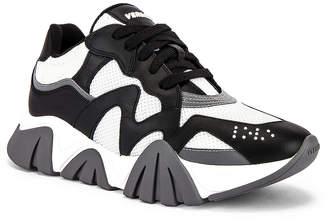 Versace Sneaker in Black & White & Silver | FWRD