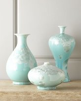 John-Richard Collection Three Swirling Leaves Aqua Vases