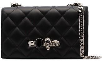 Alexander McQueen black bejewelled knuckle duster shoulder bag