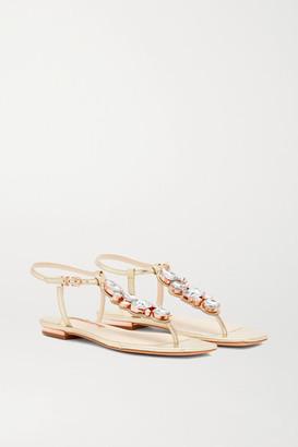Sophia Webster Ritzy Crystal-embellished Metallic Leather Sandals - Gold