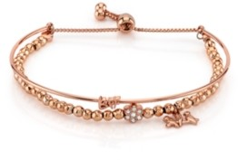 """Unwritten Rose Gold Tone Fine Plated Silver """"Bff"""" Bird and Crystal Flower Charm Bead Bolo Bracelet"""
