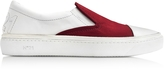 N°21 Burgundy Satin & White Leather Slip-on Sneaker