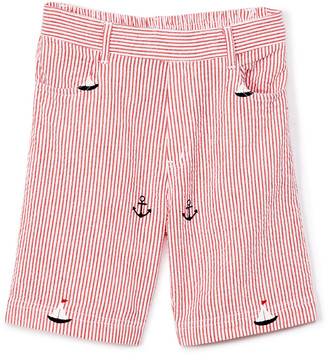 SAM. Sophie & Boys' Casual Shorts Red - Red Seersucker Sailboat Shorts - Toddler & Boys