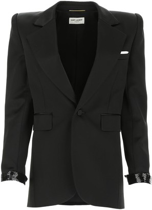 Saint Laurent Padded Shoulder Blazer