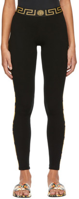 Versace Underwear Black Greek Key Basic Leggings
