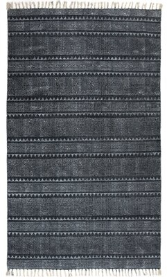 "Foundry Select Astin Block Print Hand Woven Cotton Black/Denim Area Rug Foundry Select Rug Size: Rectangle 4'10"" x 8'1"""