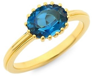 Astley Clarke 18K Yellow Goldplated & Blue Topaz Solitaire Ring