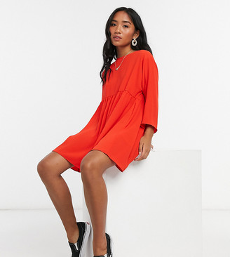 ASOS DESIGN Petite long-sleeved mini smock dress in red