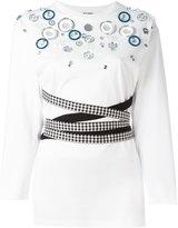 Miu Miu glass embellished fitted T-shirt - women - Silk/Cotton/glass - S