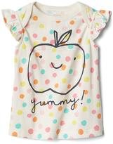 Organic apple and dot flutter tee