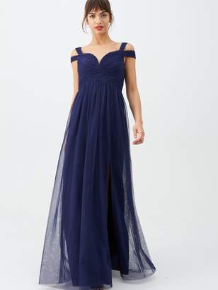 Little Mistress Bridesmaid Cold Shoulder Maxi Dress - Navy