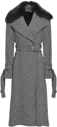 ADEAM Shearling-trimmed Houndstooth Wool-blend Boucle-tweed Coat