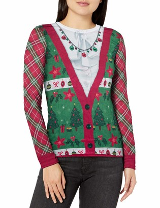 Faux Real Women's Family Ugly Christmas Sweater Long Sleeve T-Shirt Cardigan XXL