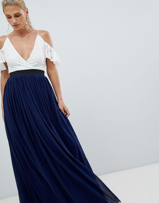 Rare London lace top contrast skirt maxi dress